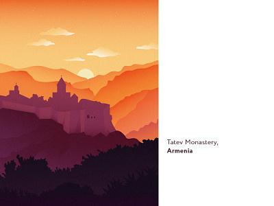 Tatev monastery in Armenia monastery flat illustration mountains mountain nature landscape sunrise sunset orange purple illustration armenianchurch armenianapostolicchurch yerevan armenian armenianart apostolicchurch armenia