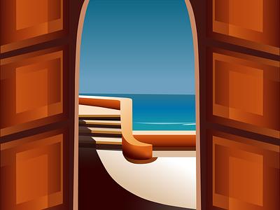 Vector Beach Scene design vector adobe illustrator illustration