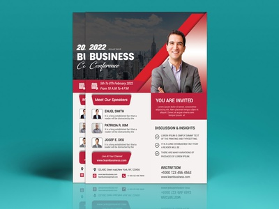 Conference Flyer / Event Flyer Template online print template online conference webinar live instagram post virtual convention center flyer marketing meetup workshop summit speakers seminar corporate event congress convention annual program conference