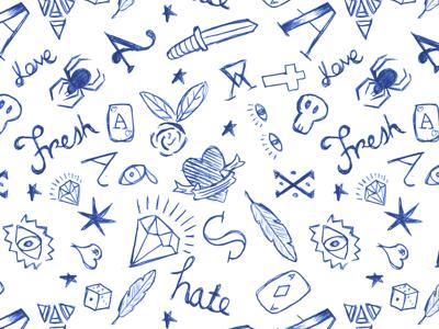 Tatto/Pen repeat pattern pattern repeat biro pen tattoo blue