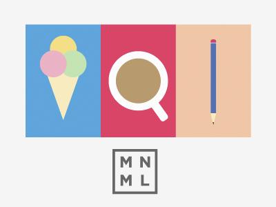 MNML Thing minimal design illustration colorful pencil cup icecream