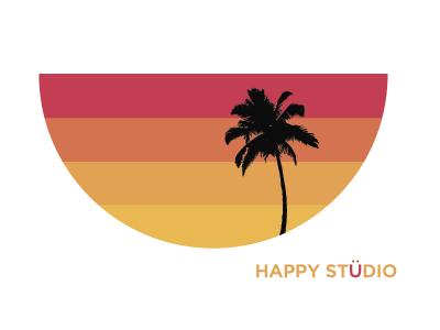 Happy Studio Sticker Design sticker simple smile sunset minimal