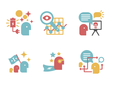 Inventium Service icons icons science innovation flat colourful simple geometric