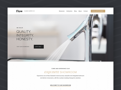 Flow Imports Website photography branding website web design ui ux simple clean interface simple showroom river digital product before and after quality premium neutral clean brochure website