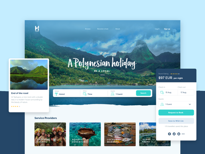 Holinesian Bnb Brand and Website ui turquoise blue clean bnb travel agency island local accomodation travel holiday vacation ux uidesign webdesign layout brand website river river digital