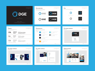DGE Brand Guidelines iconography icon design icon brand branding brandbook brand guide typography strategy design direction logo design illustration layoutdesign guide visual brand river digital river blue dge circle