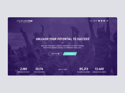 MotivateMe Website Hero teal color colour simple clean interface webdesign platform brand website river river digital ui ux purple woman women wellbeing fitness health motivation