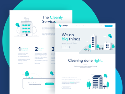 Cleanly Brochure Website illustration logo vector simple circles teal blue brochure website homepage webdesign branding web strategy brand ui ux website river river digital cleanly clean