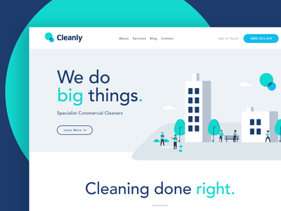 Cleanly Brochure Website (Sneak Peak) river digital river website ui ux brand webdesign illustration logo vector cleaning services cleanly cleaning brochure website quality clean design blue circle teal homepage clean
