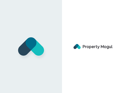 Property Mogul Brand investing realestate home house property teal arrow blue strategy clean design vector branding logo illustration brand river river digital