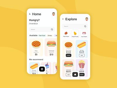简单设计并且排版的一款美食应用程序页面 版式 页面 食物 ui 美食