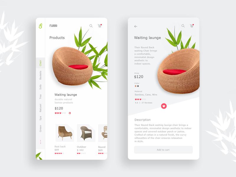 Bamboo Furniture Mobile App Design design 2020 bamboo furniture app app design ui  ux mobile design mobile ui mobile app design mobile app minimalist mobile design clean app