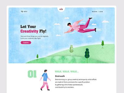 Creative Brain Training Landing Page/website-UX/UI Design website concept web ux design ui design landing page illustration ui  ux ui design website design website