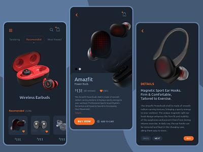 Wireless Earbuds Mobile App UX/UI Design earbuds wireless electronics app design ui  ux design mobile design mobile ui mobile app design mobile app