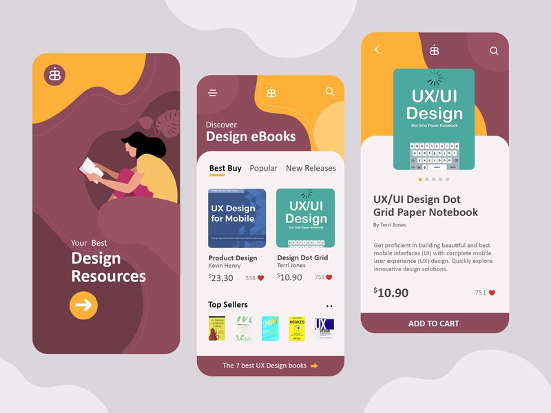 eBook Shopping Mobile UI/UX Design minimal ebook design ebook ecommerce app shopping app design ui  ux design mobile ui mobile app design mobile app