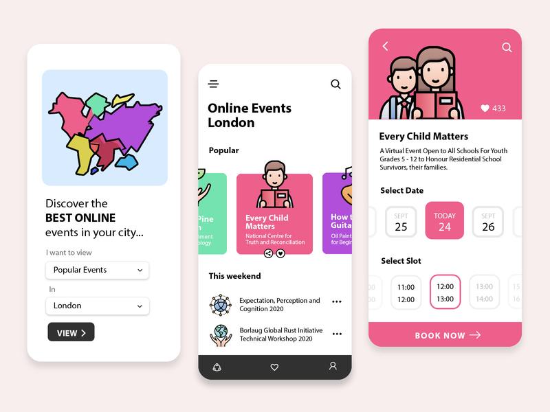 Online Events Mobile App UI Design mobile design obituary design illustration app design ui  ux web design mobile ui mobile app design mobile app