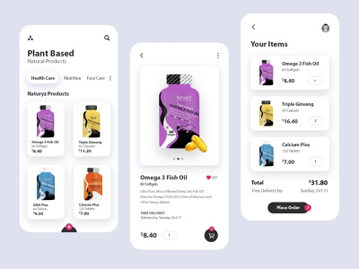 Natural Products Mobile App ux ui ui  ux uidesign product app mobile minimal mobile ui mobile app design mobile app design app design