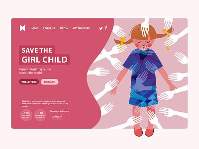 Save the girl child NGO Website UI design onepage charity landing page design landingpage website design web design design ngo