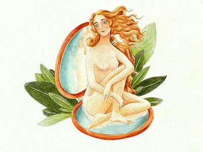 Modern Venus watercolor illustration watercolor art watercolor concept painting traditional art paper illustration