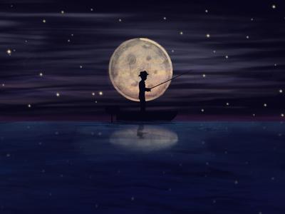 Moon boy silhouette fisherman moon new illustration procreate