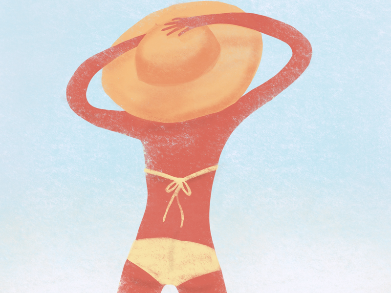 Noodle beach girl texture new design beach girl illustration noodle