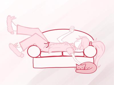 Bunny Slippers Girl cat teenage girl lazy new slippers pyjamas bunny lounge design illustration