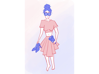 New Years Morning shoes coffee purple new procreate girl character walk of shame hung over design illustration