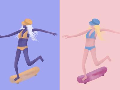 Noodle Skater Girl skateboard trial new procreate skater girl skater girl character drawing illustration