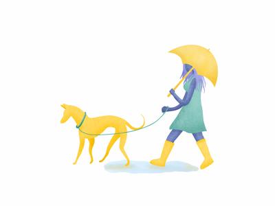Dreamy Day Dreams walking illustration design new rain umbrella dog character procreate rainy day