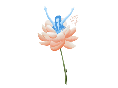 I Bloom Just For You fairy textures peony procreate new girl illustration flower bloom troye sivan