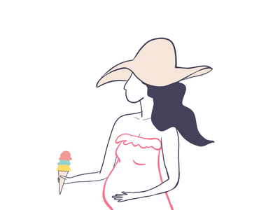 Summertime Ice Creams spring character outline procreate new summer ice cream pregnant woman illustration