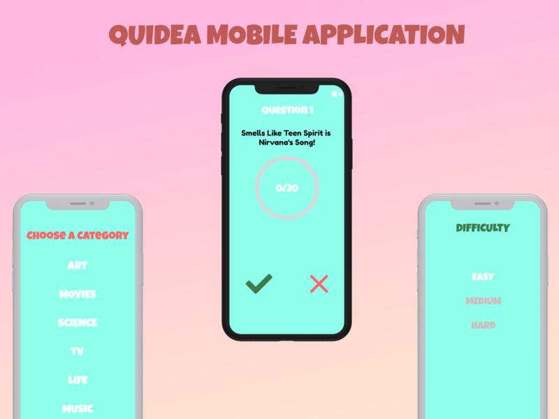 Quidea - Mobile Quiz Application Design icon design mobile application quiz quidea