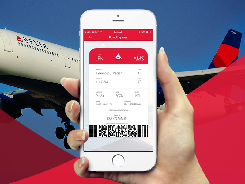 Boarding Pass Concept for Delta Airlines ticket pass boarding ios app