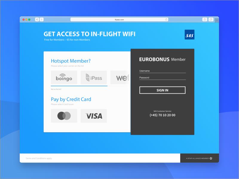 Access Menu to In-Flight WIFI – Concept login menu access wifi flight air