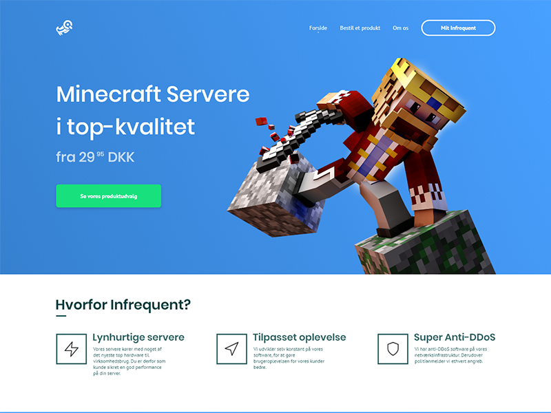 Infrequent Home Page minecraft game hosting website