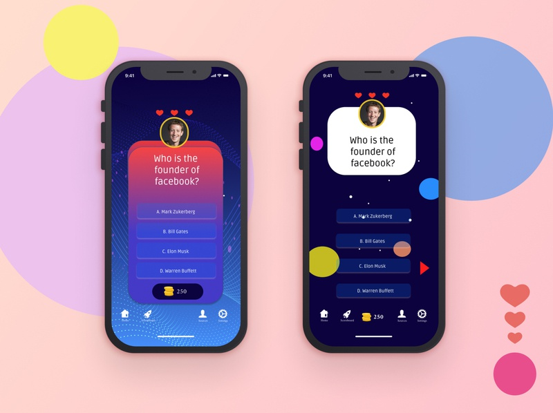 Quiz App idea logo uidesign ui design app idea mobile app design app