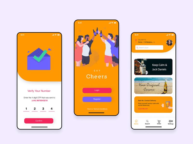 Cheers - Liquor Delivery App UI Design liquor app design ux design app idea design ux ui mobile app design app