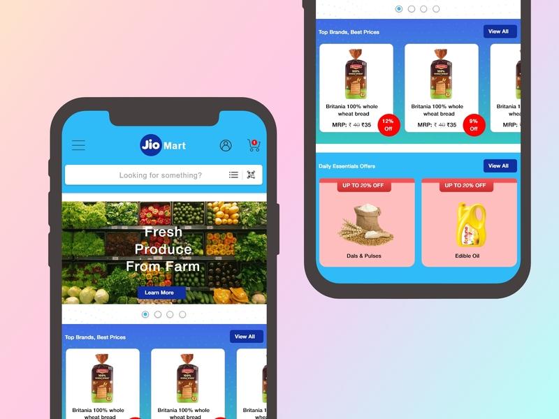 Daily UI - Landing Page mobile app e-commerce app ecommerce reliance jiomart jio dailyui uxdesign landing page uidesign uxui mobile app design ux idea vector mobile