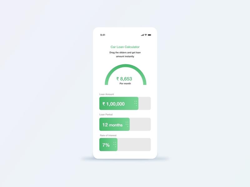 Daily UI -Calculator car loan car loan calculator calculator mobile idea app daily ui uidesign minimalist minimal design app idea mobile app design ui ux ui uiux dailyui
