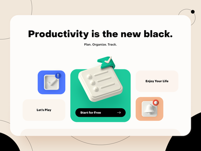 3D Icons Visualization for Productivity Web-Project web design 3d icon ux ui