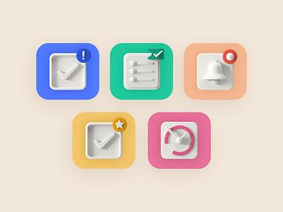3D icons -  overview productivity web design icon ui ux