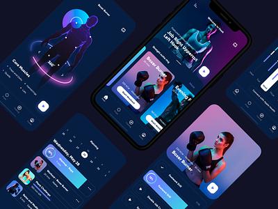 Screens for Hook app (boxing and fitness) uiux ui mobile design app designer uiuxdesign app interface app design ui ux