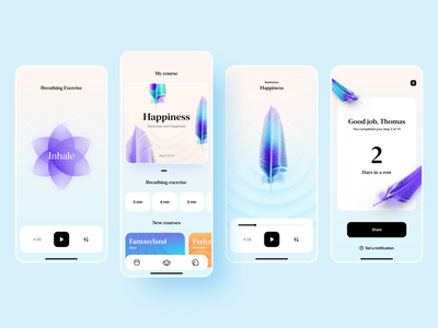 Meditation app & landing concept Brise sleep app meditate music landing landingpage feathers feather calmness mindfulness calming meditation app meditation interfacedesign mobile design app designer uiuxdesign uiux app interface app design ui ux