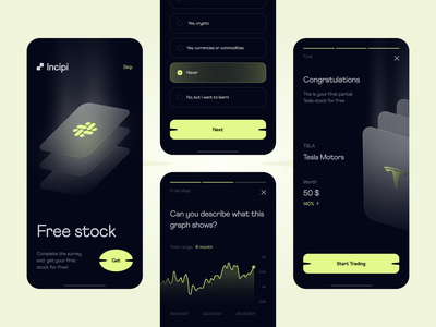 INCIPI - investment for beginners / Onboarding tesla cards ui trading platform digital trading graphs crypto stocks trade trading investment finance bank banking interfacedesign mobile design app interface app design ui ux uiuxdesign