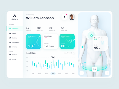 Alutem - tracking patients' health data uiuxdesign ui ux app design interfacedesign health tracking health data patient medical med blood oxygen medical app patient app healthcare medicine hospital clinic health care public health