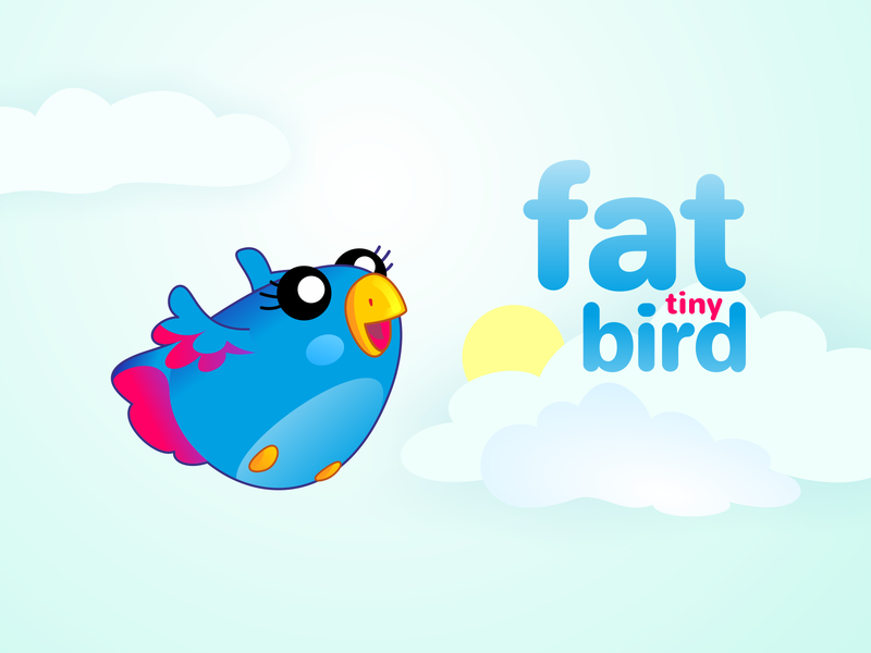 fat tiny bird bird character cartoon vector illustration