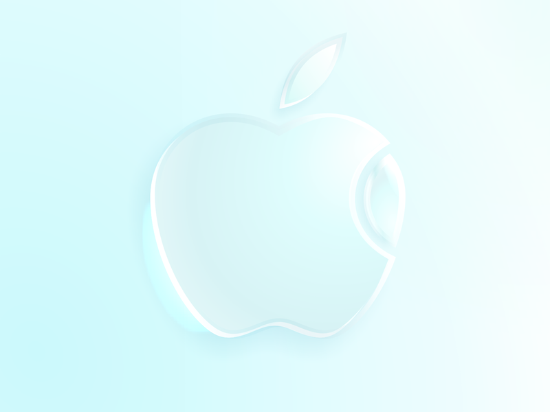 glass apple logo skeumorphic neomorphic glass apple logo vector illustration