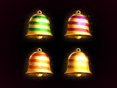 din-don din-don skeuomorph xmas jingle bells candy christmas bell illustration vector