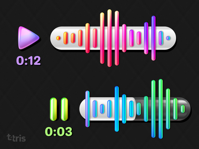 popsicles waves player pause play graphs audio audio player audio app messaging messages message app messenger glassmorphism glassy dark ui dark theme dark app app ui skeuomorph vector