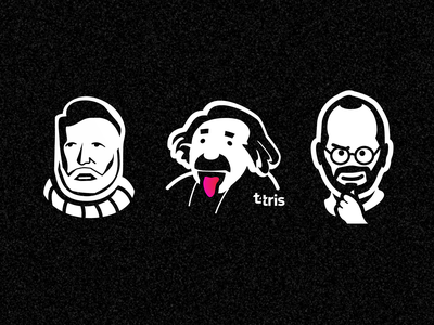 trinity albert einstein hemingway einstein steve jobs portrait character cartoon illustration vector